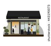 modern landscape set with cafe  ...   Shutterstock .eps vector #443190073