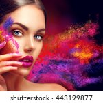 high fashion model girl... | Shutterstock . vector #443199877