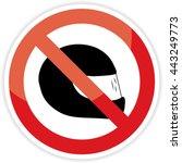 no helmet sign on white...   Shutterstock .eps vector #443249773