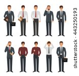 set of business man character... | Shutterstock .eps vector #443250193