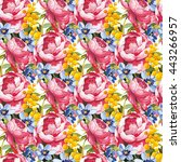 seamless floral pattern with... | Shutterstock .eps vector #443266957