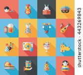celebration and birthday icons... | Shutterstock .eps vector #443269843