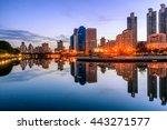 abstract city reflection river... | Shutterstock . vector #443271577
