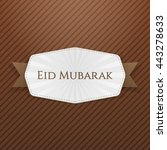 eid mubarak emblem with ribbon | Shutterstock .eps vector #443278633