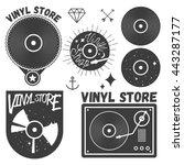 vector set of vinyl disc and... | Shutterstock .eps vector #443287177