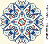 islamic floral circle design.... | Shutterstock .eps vector #443288317