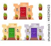 set of three bright front doors ... | Shutterstock .eps vector #443293423