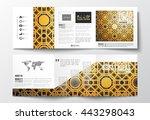 set of tri fold brochures ... | Shutterstock .eps vector #443298043