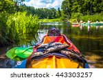 colorful kayaks on the river... | Shutterstock . vector #443303257