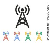 communication tower vector icon.... | Shutterstock .eps vector #443307397