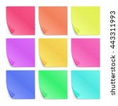 color post its paper stickers... | Shutterstock .eps vector #443311993