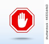 no entry hand sign icon  vector ... | Shutterstock .eps vector #443316463