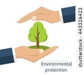 environmental protection. hands ... | Shutterstock .eps vector #443326423