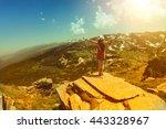 traveler woman relaxing alone... | Shutterstock . vector #443328967