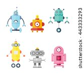 set cute robots. future. flat... | Shutterstock .eps vector #443333293
