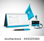 calendar pen flag and badge... | Shutterstock .eps vector #443335483