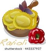 ravioli pasta set vector...   Shutterstock .eps vector #443337937