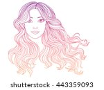girl with long wavy hair  hand... | Shutterstock .eps vector #443359093