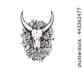 bull cow scull illustration | Shutterstock .eps vector #443362477