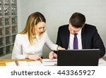 male and female office workers. | Shutterstock . vector #443365927