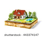 white house of dream on a piece ... | Shutterstock . vector #443374147