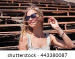 photography of blonde smiling... | Shutterstock . vector #443380087