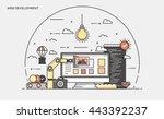 thin line flat design banner of ... | Shutterstock .eps vector #443392237