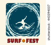 surf festival emblem with... | Shutterstock .eps vector #443394037