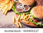 delicious burgers with beef ... | Shutterstock . vector #443403127