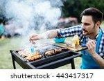 handsome male preparing... | Shutterstock . vector #443417317