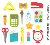 cute childish back to school... | Shutterstock .eps vector #443428597