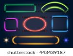 neon light frames. vector lamp... | Shutterstock .eps vector #443439187