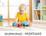 preschooler child playing with...   Shutterstock . vector #443451643
