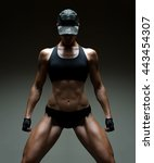 image of muscular young female... | Shutterstock . vector #443454307