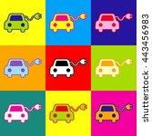 eco electric car sign. pop art... | Shutterstock . vector #443456983