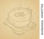 pot of hot soup. hand drawn on... | Shutterstock .eps vector #443457763