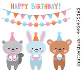 hare and bear  at a birthday... | Shutterstock .eps vector #443475163