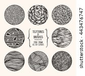 hand drawn textures and brushes.... | Shutterstock .eps vector #443476747