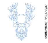 deer head stylised doodle zen... | Shutterstock .eps vector #443478937