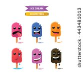 set of ice cream characters.... | Shutterstock .eps vector #443481013