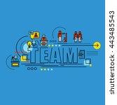 flat line design start for... | Shutterstock .eps vector #443485543