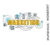flat line design start for... | Shutterstock .eps vector #443485597