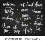 party signs set bridal shower... | Shutterstock .eps vector #443486347