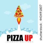 pizza up logo for flat pancake... | Shutterstock .eps vector #443491807