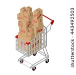 shopping cart and box sale... | Shutterstock .eps vector #443492503