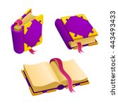 set of cartoon purple book from ...