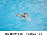 happy child playing in swimming ... | Shutterstock . vector #443521483