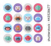 a set of flat robot icons for... | Shutterstock .eps vector #443528677