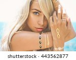 outdoor fashion portrait of... | Shutterstock . vector #443562877