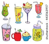 monochrome cocktail set  funny... | Shutterstock .eps vector #443563957